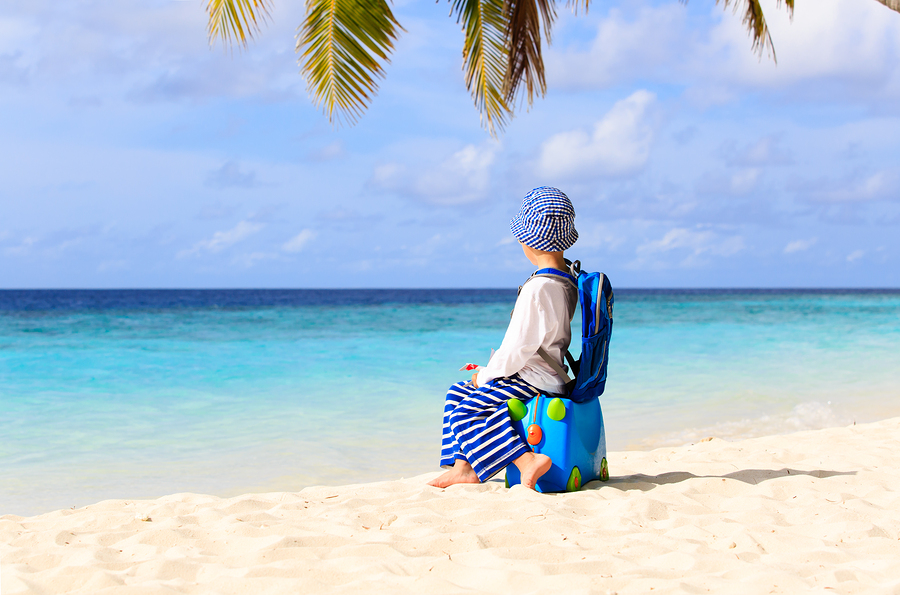 little boy travel on beach with suitcase, kids travel