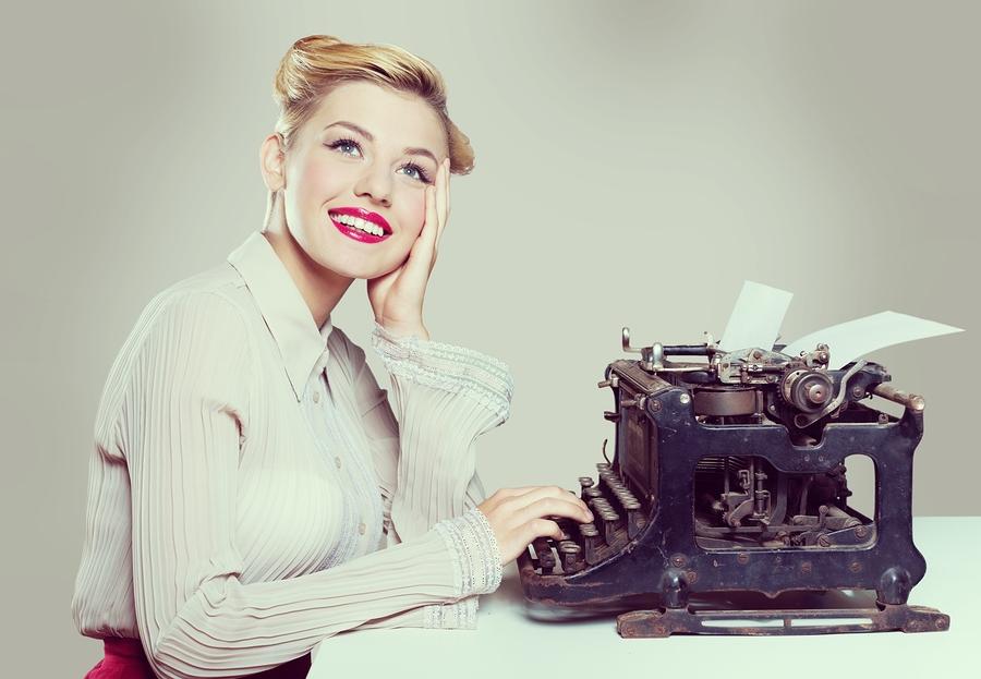 Retro typewriter writer woman type photography historical document